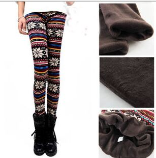 910e23bd50970 Super warm big girl print flower fleece lined leggings teenager girls  christmas flower fleece legging winter youth women outwear