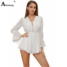White Lace Sexy V Neck Rompers Women High Waist Sexy Transparent Lace Up Beach Playsuits Long Sleeve Party Polka Dot Romper white stripe pattern roll neck long sleeves drawstring waist playsuits