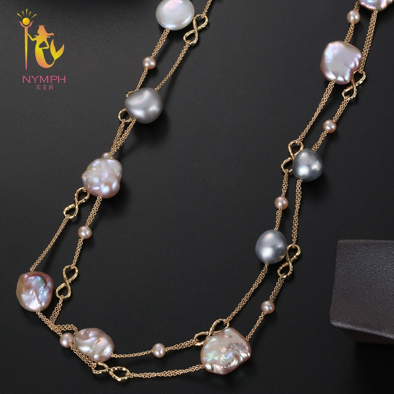 [NYMPH] Fine Jewelry Long Pearl Necklace Natural Baroque Pearl Sweater Chain For Women Anniversary Gift X328 exquisite faux pearl embellished multi layered alloy sweater chain necklace for women