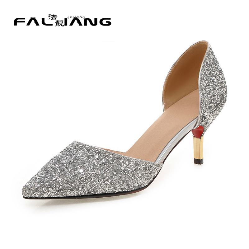 ФОТО AA365 glitter thin heels pointed toe slip-on women pumps large size 32-43 high heel party shoes gold silver white summer shoes