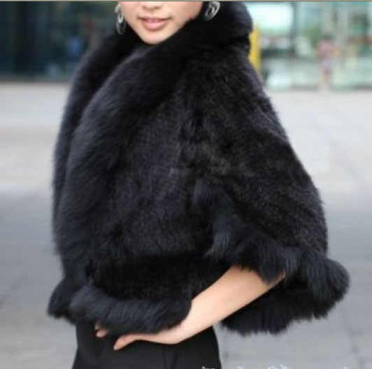Free Shipping New Genuine Knitted Mink Fur Shawl Wrap Cape with Fox fur collar women mink fur coat Wholesale retail TF0137