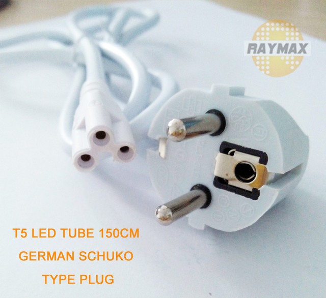 10PCS/LOT T5 TUBE WIRES 1.5M POWER LINK WITH GERMAN SCHUKO TYPE PLUG ...