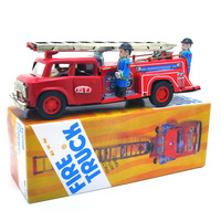 [Best] Adult Collection Retro Wind up toy Metal Tin fire fighting truck car firefighters Mechanical toy figures model kids gift