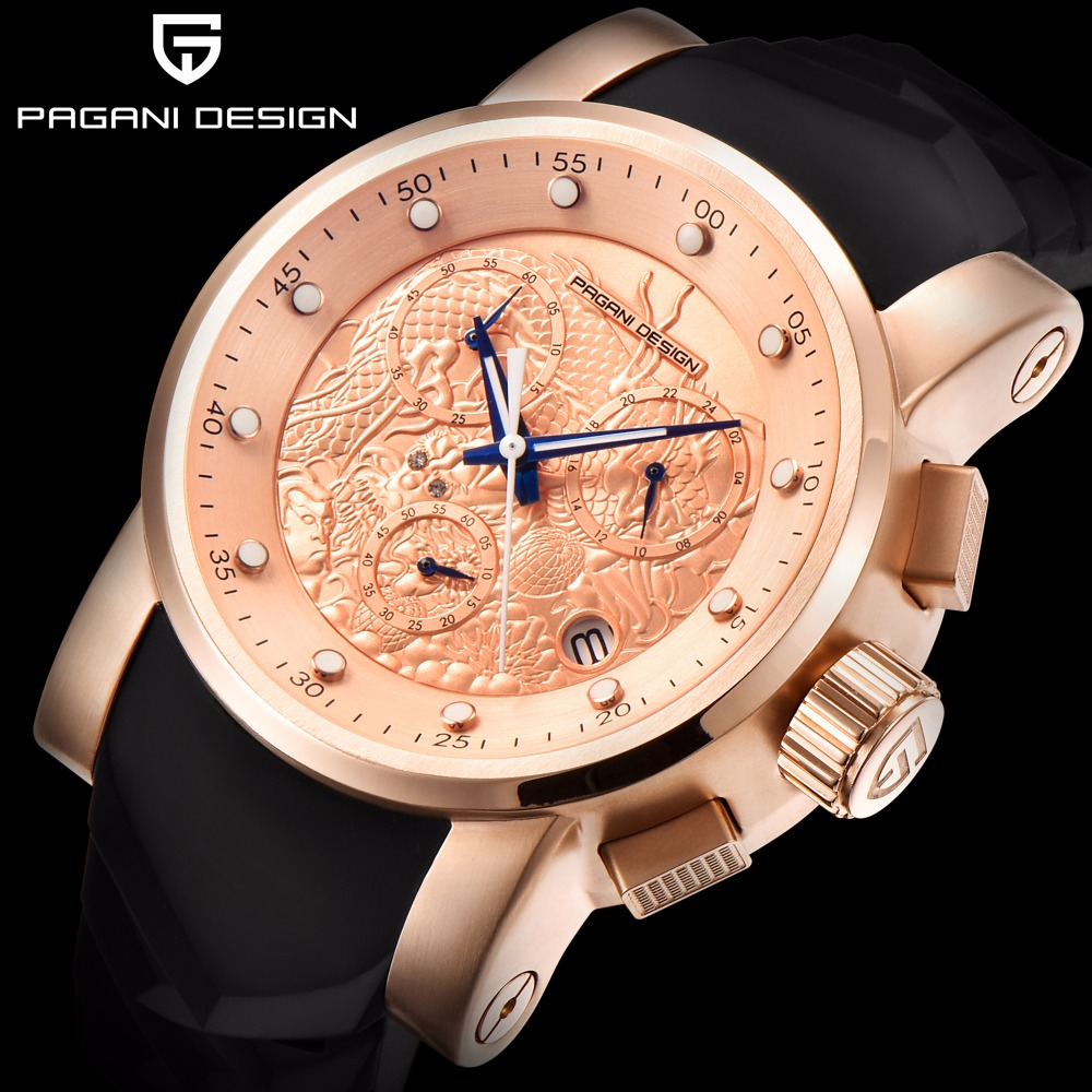 PAGANI DESIGN Brand Men Watches Luxury Chinese Dragon Calendar Relogio New Waterproof Silicone Strap Fashion Quartz Simple Watch new design chinese