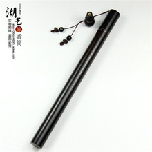Delicate ebony long hand inlaid silver joss stick tube creative fragrant incense inserted with gourd pipe 10 grams