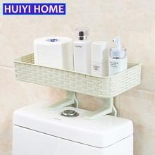Nytt badrum Förvaringsstativ Multifunktion Starkt Limhyllor Toalettplattor Hylla För Badrumsmöjligheter Tillbehör EGP055
