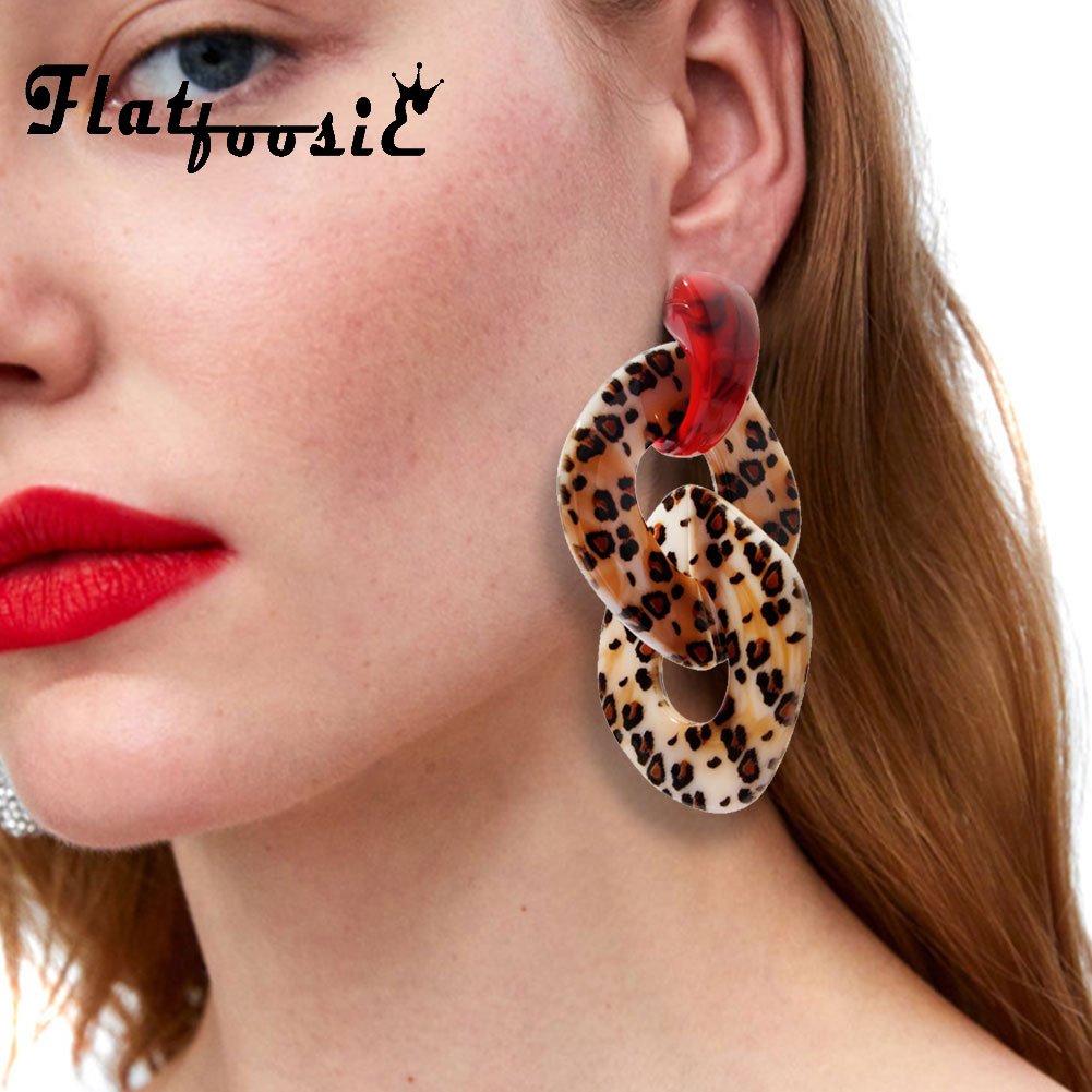 Flatfoosie Leopard Acrylic Dangle Earrings For Women Geometric Vintage Resin ZA Big Long Drop Earring Fashion Statement Jewelry