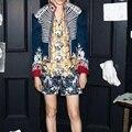 ВЫСОКОЕ КАЧЕСТВО Новые 2017 Барокко Дизайнер Куртка женская Роскошный Вышивка Цвет Блока Полоса Пальто Куртки