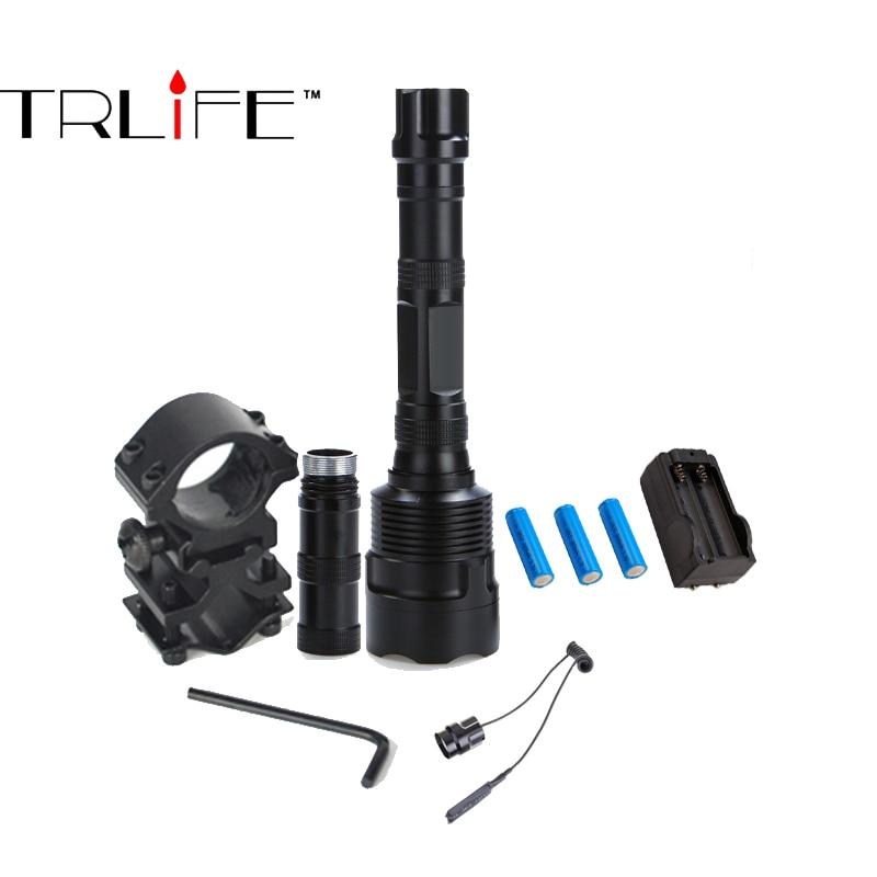 Super Bright 8000 Lumen Tactical Flashlight Torch 3xT6 LED Lanterna Hunting Gun Mount+Tactical mount+Remote switch+3*18650