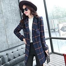 The new long section of lapel woolen casual plaid wool coat woolen coat
