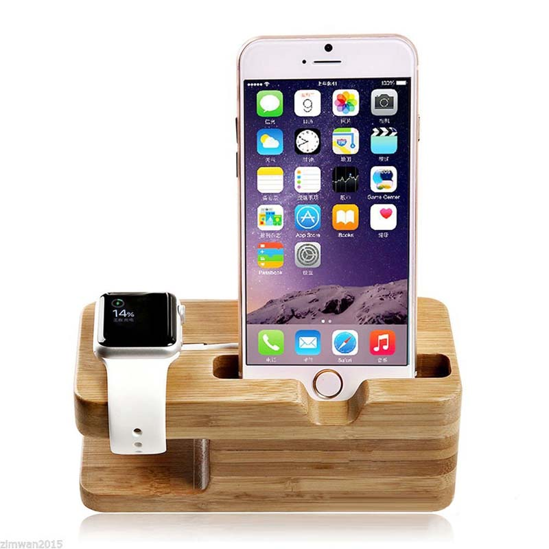 DIHAN wooden charge dock station mobile phone holder For iwatch Iphone 6 7 8 universal desk desktop bracket cradle phone holder