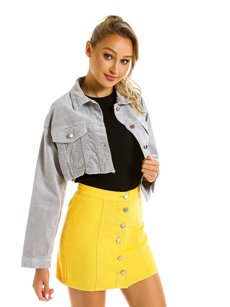 Lâche court velours côtelé vestes femmes 2019 printemps Vintage décontracté gris lavage à manches longues veste manteau grande taille