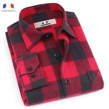 Langmeng 2017 marke 100% baumwolle flanell männer shirt slim fit herren langarm karierte hemden frühling herbst casual shirts männlich