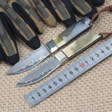 Natural Horn Handle Damascus steel Hunting Knife Tactical Camping Knives With leather sheath Rescue Outdoor Knife