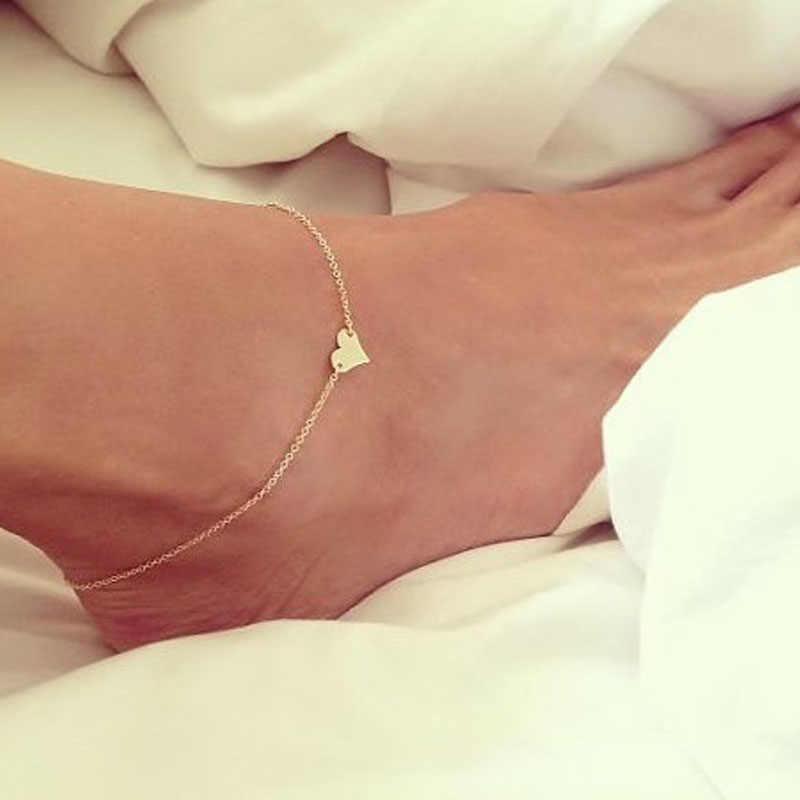 สาวแฟชั่นหัวใจข้อเท้าสร้อยข้อมือชายหาดรองเท้าแตะเครื่องประดับเครื่องประดับสไตล์ร้อนขาย Anklet เงินทอง # T