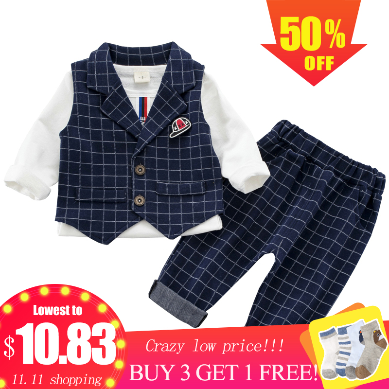 Baby Boy Suit Set 3PCS Kids Clothes Boys Baby Clothing Sets Vest Shirt Pants Toddler Boys Clothes Set Wedding Outfits Birthday boys clothing set striped vest pant shirt suits formal outfits kids school uniform baby children wedding party boy clothes sets