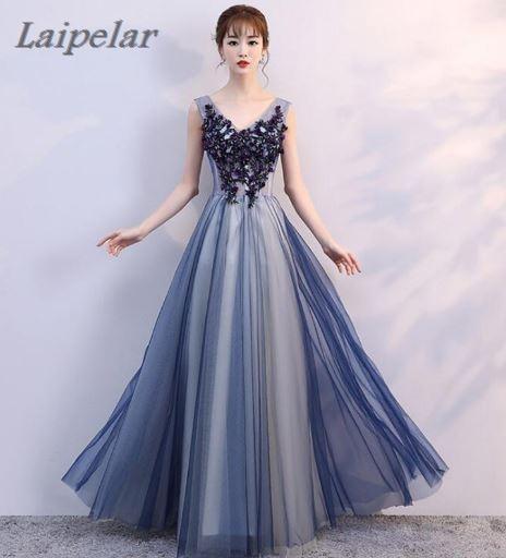 Laipelar V-neck Navy Blue Long Dress Lace Beaded Vintage Prom Gowns Vestido De Festa Off The Shoulder Cheap Gown