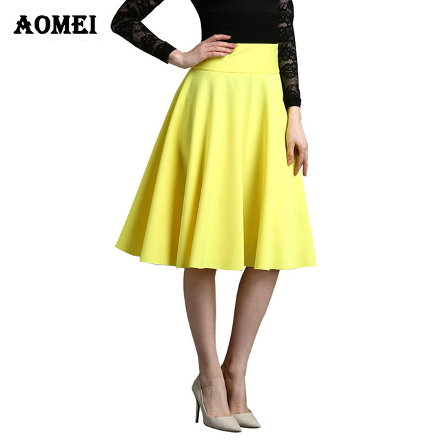 cd80235163 Ladies 2019 Fashion Knee length skirt Solid Yellow color High waist Pleated Plus  Size 5XL 4XL Spring Elegant Skirt Office wear
