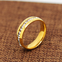 High Quality 18K Gold Plated Ring Vintage Classic Engagement Zircon Bling Rings For Men Bague Bijouterie