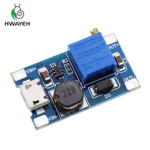 Image 1 - 5pcs/lot MT3608 DC DC Adjustable Boost Module 2A Boost Step Up Module with MICRO USB 2V   24V to 5V 9V 12V 28V LM2577