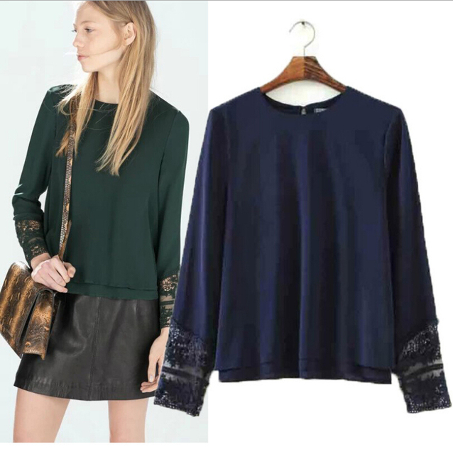 Women Chiffon blouse Lace Embroidery Cuff Long Sleeve O-Neck Double Layers Shirts Pullover Blouse Ladies Tops blusa feminina c08
