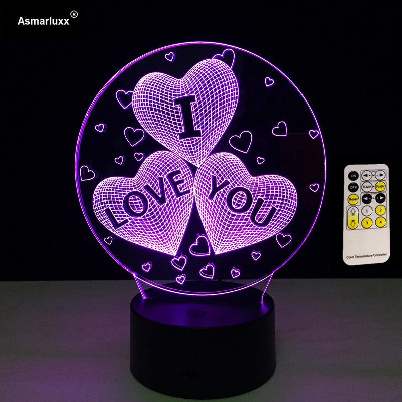 7 Color Changing USB Charge 3D I LOVE YOU LED Night Light With 3D luminous RF Ble Or Touch Control Table Lamp Nightlight Decor