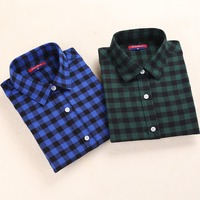 New Brand Plaid Shirt Women Tops Turn Down Collar Women Shirts Long Sleeve Plus Size Blusas