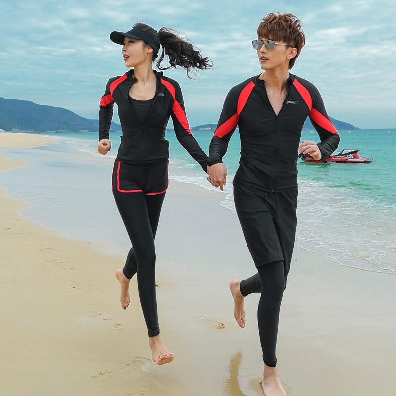 Couple combinaison de plongée femme mâle fendu à manches longues pantalon méduse costume de plongée en apnée surf maillot de bain costume à séchage rapide écran solaire