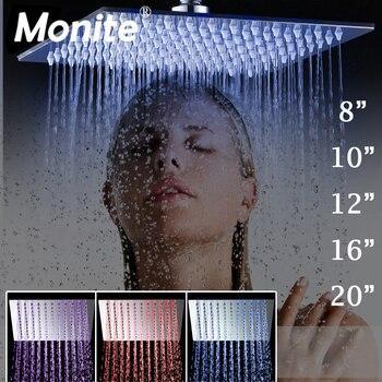 Monite светодио дный 8 10 12 16 20 24 дюймов светодиодная дождевая душевая головка B8136 нержавеющая сталь дождевая душевая головка ванная ультра-тонк...