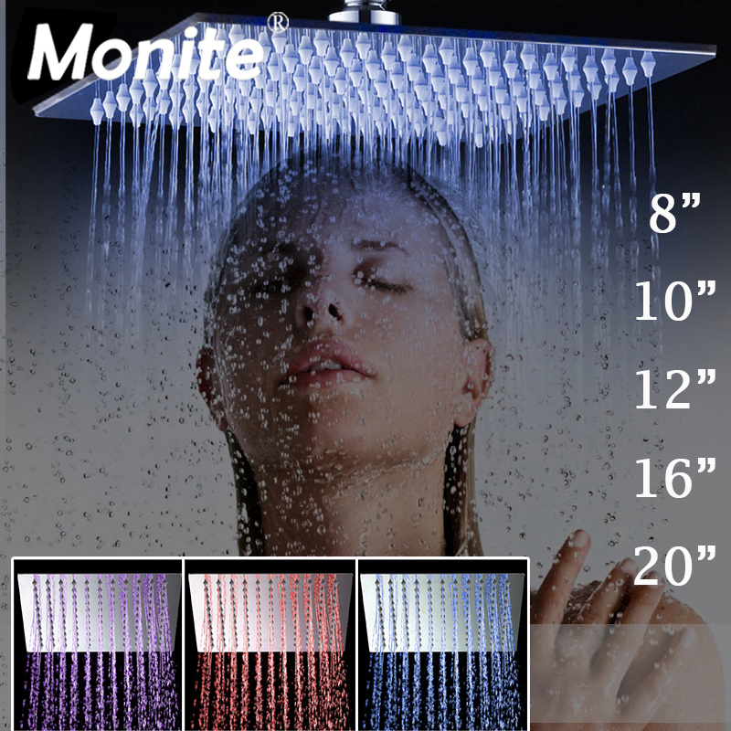 Monite 8 10 12 16 20 24 Inch LED Rain Shower Head B8136 Stainless Steel Rainfall Shower Head Bathroom Ultra thin Shower Head