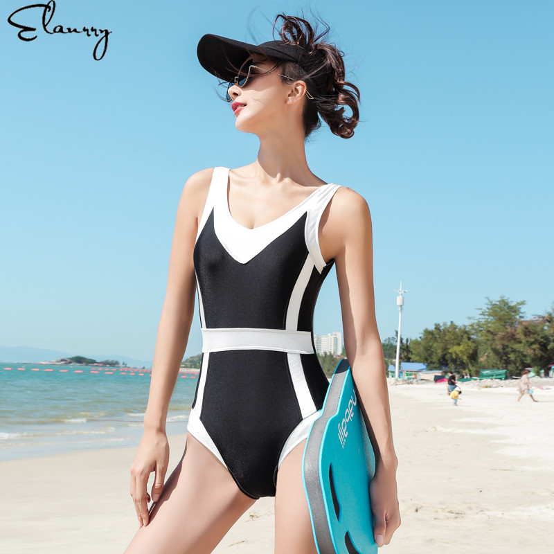 Backless Women One-piece Swimsuit 2019 Mujer Padded Patchwork Bathing Suits Summer Ladies Beach Wear Vintgae Monokini Maillot