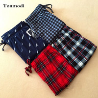 Pajamas Trousers For Men Woven Cotton Fabric Pants Men's Lounge Trousers Plaid Pants Sleep Bottoms