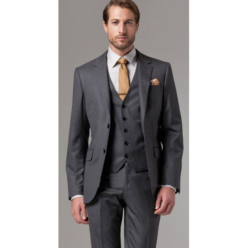 2018 Italian kingsman terno masculino jackets slim grey Men Suit two button gray Three Pieces wedding groom mens smoking suits