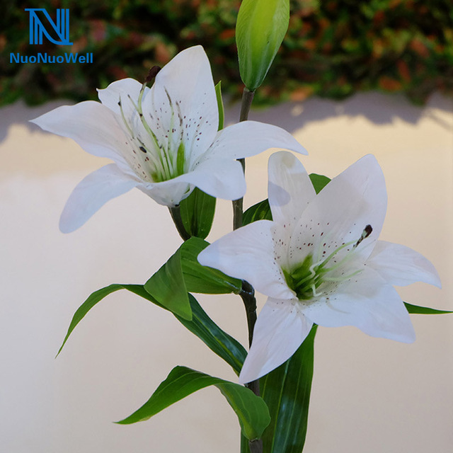Artificial Real Touch Latex Lily Flower Leaf Plant Bouquet Wedding ...