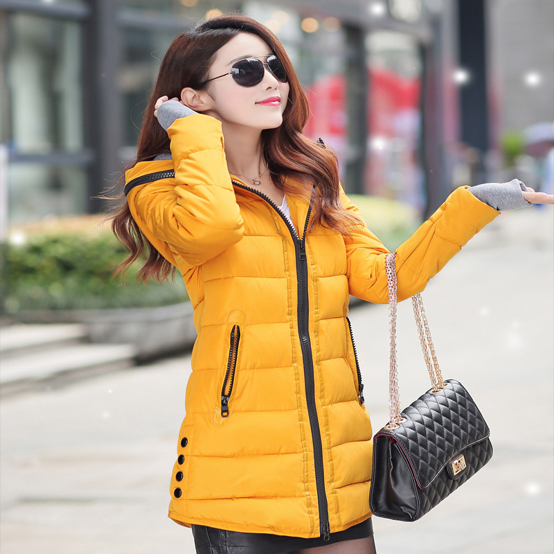Warm Winter Jackets   Parkas   Casual Hooded Long Coat Thickening Zipper Slim Fit Plus Size Long   Parka   Women Fashion Down Cotton
