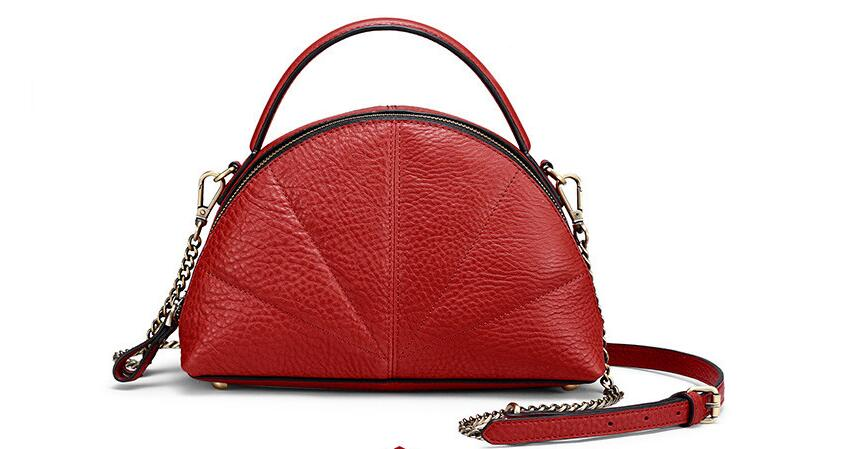 2018 genuine leather women's shell bag brief fan shaped cowhide leather lady's shoulder bag fashion chain bag globe shaped aluminum shell precise compass