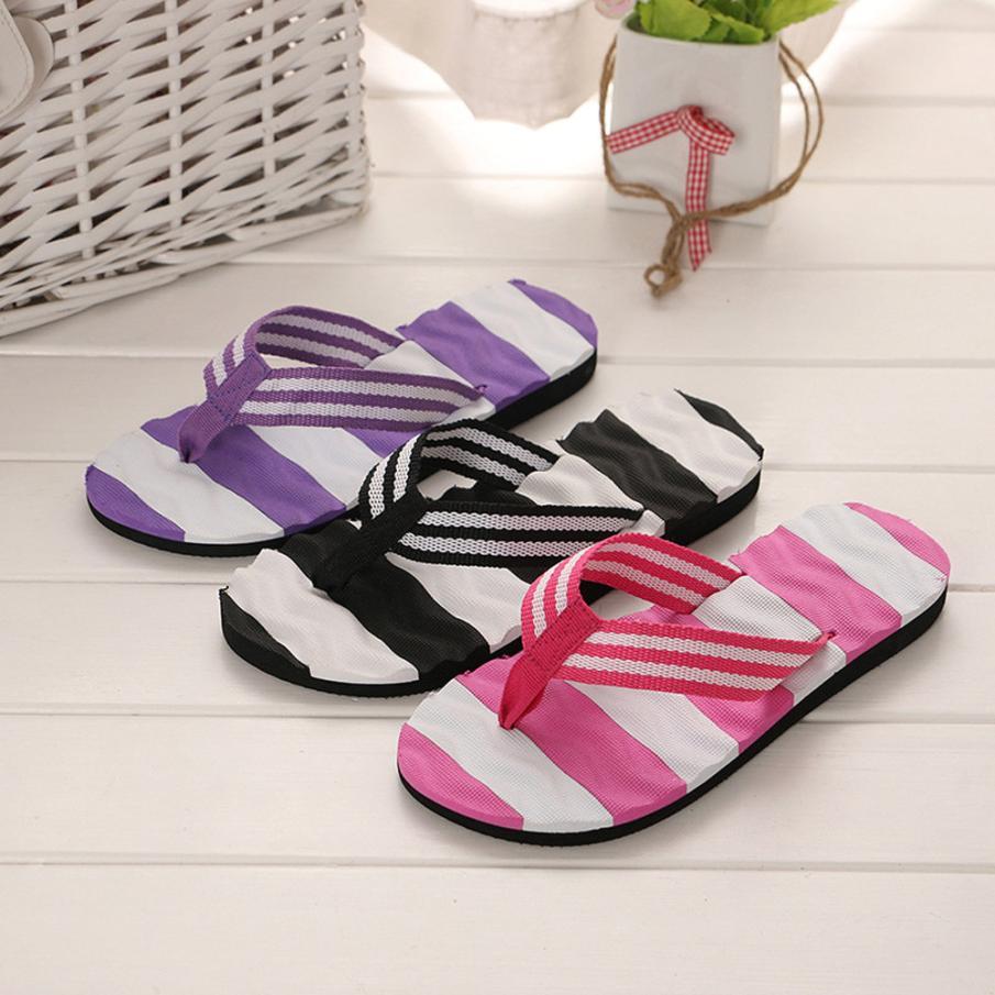 2018 Women Flower Summer Sandals Slipper Indoor Outdoor Flip-Flops Slim Beach Shoes Comfortable Open Toe