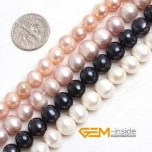 """Perle: 8-9mm Perle D'eau Douce Perles en Vrac de BRICOLAGE Perles Pour Bracelet Ou Collier Faisant Perles Strand 15 """"en gros!"""