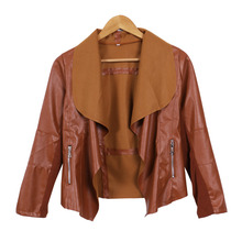 New Women Punk Slim Biker Motorcycle Short Jacket Lapel PU Leather Coat Outwear woman jackets