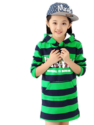 2015 fall and winter clothes wholesale children's clothing for girls plus thick velvet hooded big virgin