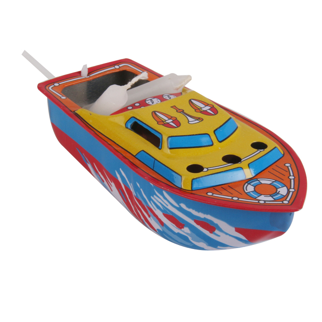 Hot Sale Candle Boat Tin Toy Classic European Water Wind Up Iron Toys Multi-colored Collectible Creative Gift for Kids Children
