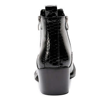 Black Patent Leather Boots | Winter Mens Shoes High Heels Black Genuine Leather Cool Military Army Boots Zipper Decor Metal Tip Ankle Cowboy Boots Mens