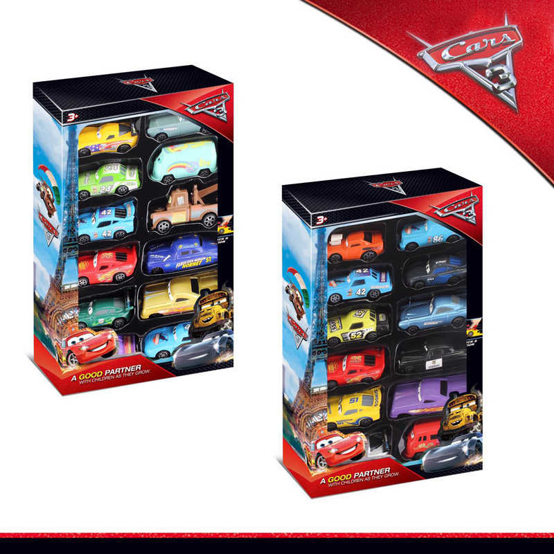 12 Piece Plastic Disney Pixar Cars 3 Model Car Toys Gift Box Set Lightning McQueen Storm Jackson Car Toy Boy Christmas Present