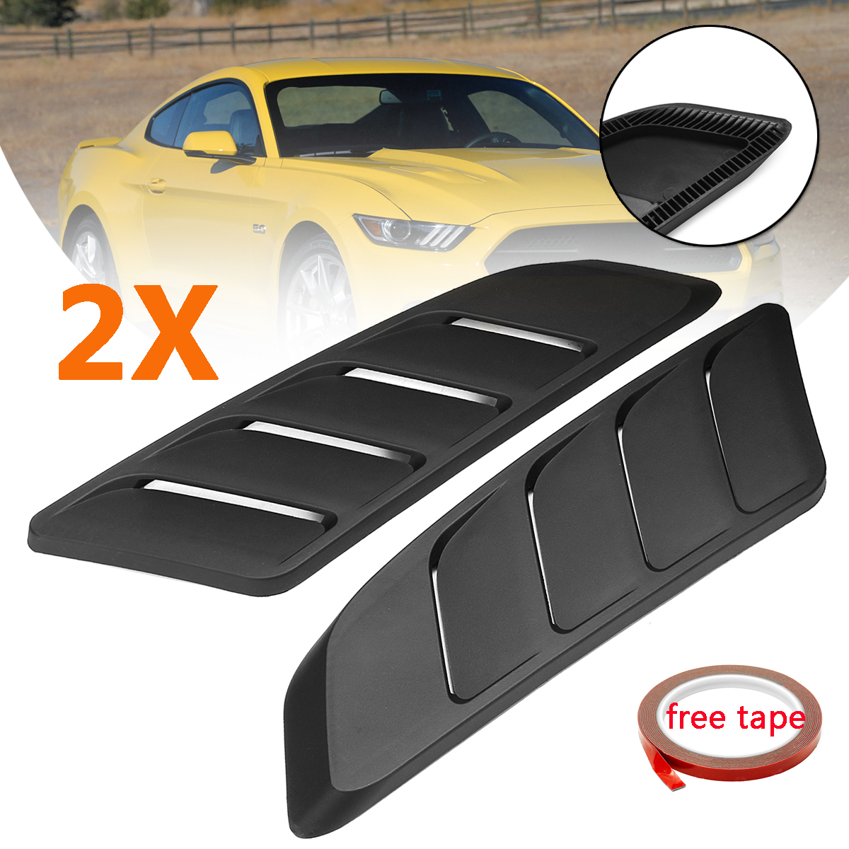 2Pcs Universal Car Air Intake Scoop Bonnet Hood Vent Front Hood Vent For Ford For Mustang 2015 2017 Panel Trim Black