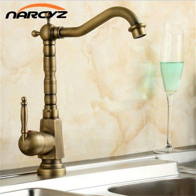 Hot Sale Antique Brass Kitchen Faucet Swivel Bathroom Basin Sink