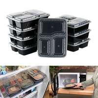 Hot sale 10pcs 1000Ml Black Disposable Food Container Snack Packing Boxes Microwaveable PP Bento Lunch Box