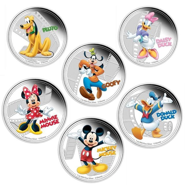 US $75 0  Full set 1OZ mickey & friends mouse dog duck Hollywood cartoon  animal coin silver plated England Canada souvenir coin 30pcs(6*5)-in