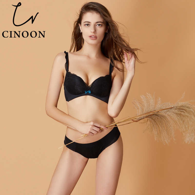 d84a71a42ae44 ... CINOON Sexy Lingerie Deep V Underwear Push Up Bra Sets Floral Lace Women  Intimates Comfortable Brassier ...