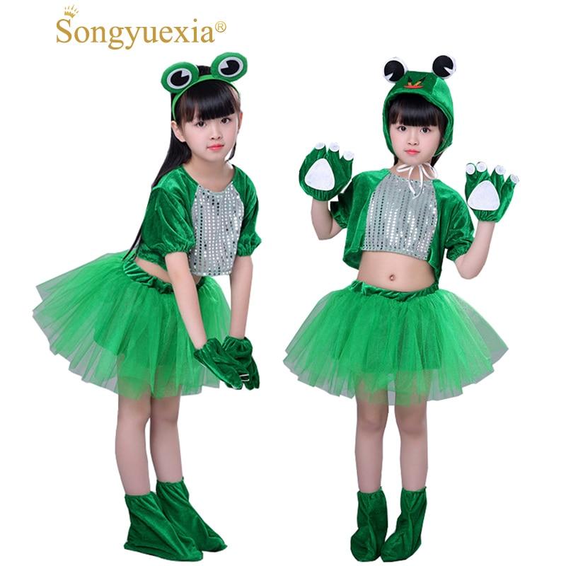 Songyuexia Bambini adpole Piccolo Salto Rana Piccola Rana Cartone Animato Animale Danza Costumi di Scena Jazz Moderno vestiti Cheerleading