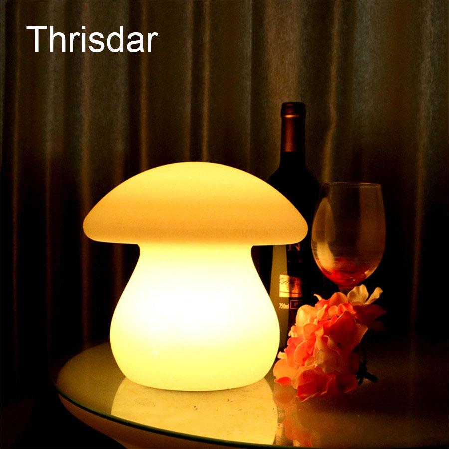 Thrisdar 7Color Rechargeable Mushroom Led Night light Led illuminated Furniture Bar Table lamp With Remote Controller 23X23X22CM led remote control colorful eggs rechargeable bar table lamp ktv night club light dimming color led night light free shipping